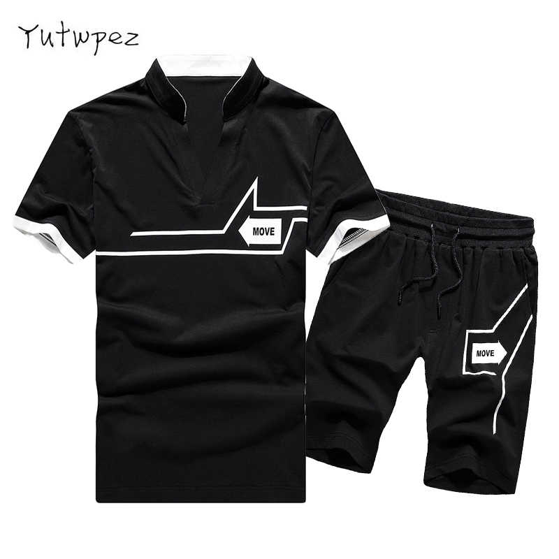 Tracksuit Men Sweat Suit Summer 2PC Set Men Striped Tops Tees+Shorts Camisetas Hombre Casual Fashion Brand Clothing Europe Size