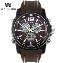 2016 New WAHSHUN Brand Business Watches Dual Time Display Wristwatches LED Digital Male Quarz Sport Watch Men Clock Gifts WS1162