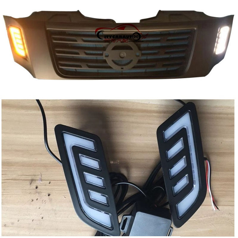 LED DRL DAY TIME LIGHTS MASK GRILLE LED LAMP WITH TURNING SIGNAL FEATURE FIT FOR NISSAN NAVARA NP300 D23 2015-2017 LED DRL 2014 18 car wind deflector awnings shelters for navara np300 d23 black window deflector guard fit for nissan navara np300