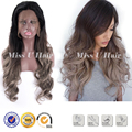Серый парик искусственные волосы 2 дюймов фронта шнурка синтетический парик ombre естественно керлинг волосы дешевый парик