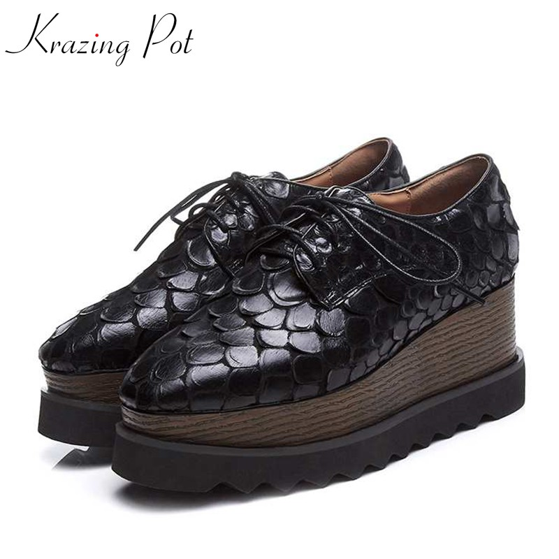 Krazing Pot brand shoes wedges high heels women patterns leather Spring pumps high quality lace up long leg platform shoes L18 krazing pot recommend autumn cow leather wedges thick bottom high heels straw sole pumps lace up mixed color oxford shoes l92