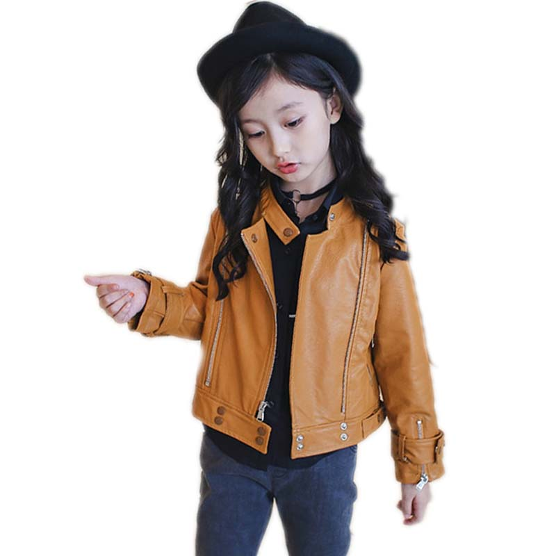 Teenage Girl Faux Leather Jacket Motorcycle Children Leather Jackets Spring & Autumn Turn-down Collar Coats PU Clothes for Girls 2017 fashion teenager motorcycle coats boys leather jackets patchwork children outerwear letter printed boy faux leather jacket