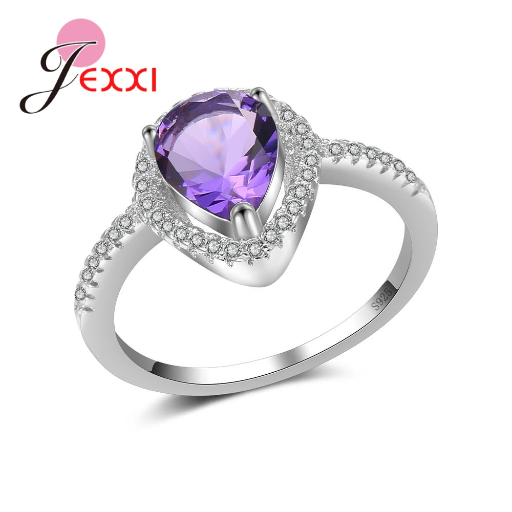 JEXXI Women Ladies Pretty Finger Rings Crystal Jewelry High Quality Trendy 925 Sterling Silver Clear Cubic Zirconia Present