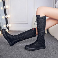 Autumn new high rise canvas lace canvas boots side zipper front lace Fashion Girl's Canvas Boots Women Knee High Canvas Shoes