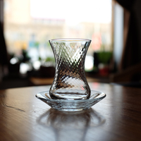 Турецкое традиционное прозрачное стекло черная чайная чашка льда падения Турция кофейная чашка и блюдце набор чашка для воды