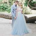 O Laço branco Azul Tule Vestidos de Casamento Da Luva do Tampão Sheer Pescoço V Vestido de Noiva Sem Encosto Vestidos de Noiva Rústico Boemia Vestido de Casamento