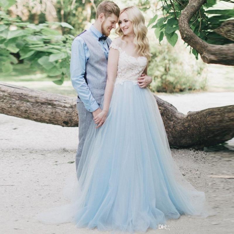 Wedding Dress White And Blue: White Lace Blue Tulle Wedding Dresses Cap Sleeve Sheer