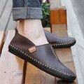 2015 Zapatos de Los Hombres de Nueva Mejor Calidad Planos Del Cuero Genuino de Los Holgazanes Casuales Soft Zapatillas Cómodo Conduciendo Zapatos