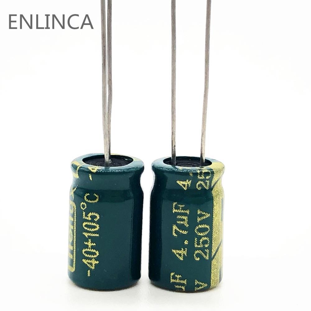 20pcs/lot S81 250v 4.7UF Aluminum Electrolytic Capacitor Size 8*12 4.7UF 20%