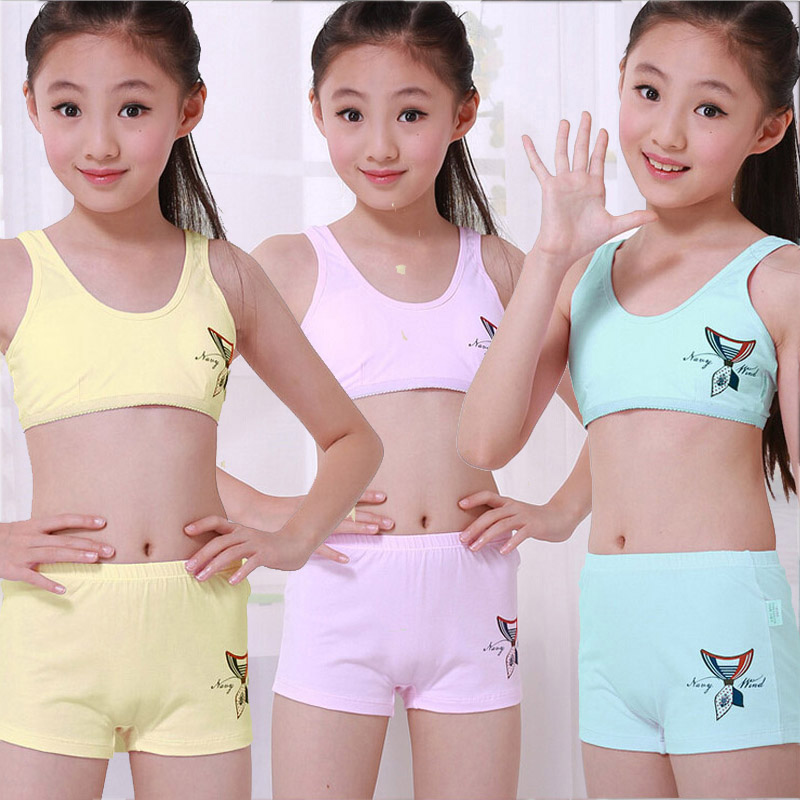 Retail Middle and big children/ kids/ Young girl student 100% cotton underwear set with bra and boxers 7 to 15 years girl