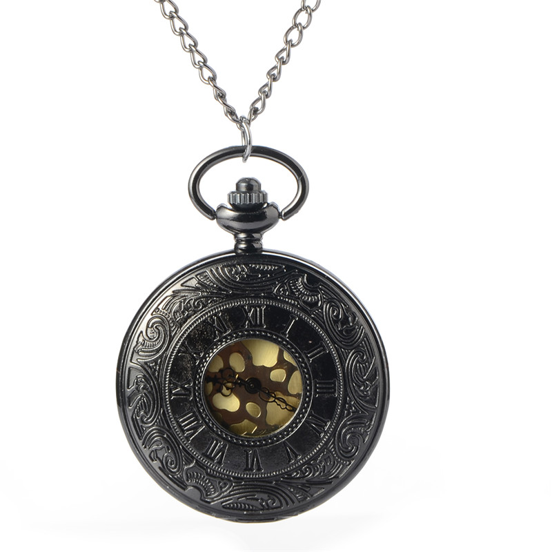 Black Steampunk Skeleton Quartz Pocket Watch Men Antique Luxury Necklace Pocket & Fob Watches Chain Male Clock Christmas Gift antique gear roma numbers glass dome quartz pocket watch steampunk fob clock with necklace chain men women gift free shipping