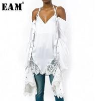 [EAM] 2018 осень зима женские стильные однотонные Белый Цвет Холтер Воротник сращены кружево падения с длинным рукавом Puff рубашка LD662 LD662