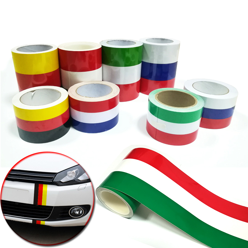 Car-styling 7.5cm/15cm*100cm Russia German France Italy Belgium Flag Stripe Decal Bumper title=
