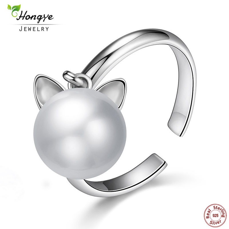 Hongye 925 Sterling Silver Cute Cat Real Natural Freshwater Pearl Ring Open Rings For Women Fashion Girl Jewelry Accessories