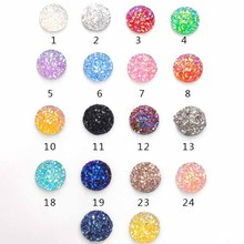 100pcs Assortment 12mm Round Resin Faux Druzy Cabochon Beads Handmade Glitter Flatback Cameo Craft for DIY Jewelry Accessories 36x16mm small druzy cabochon