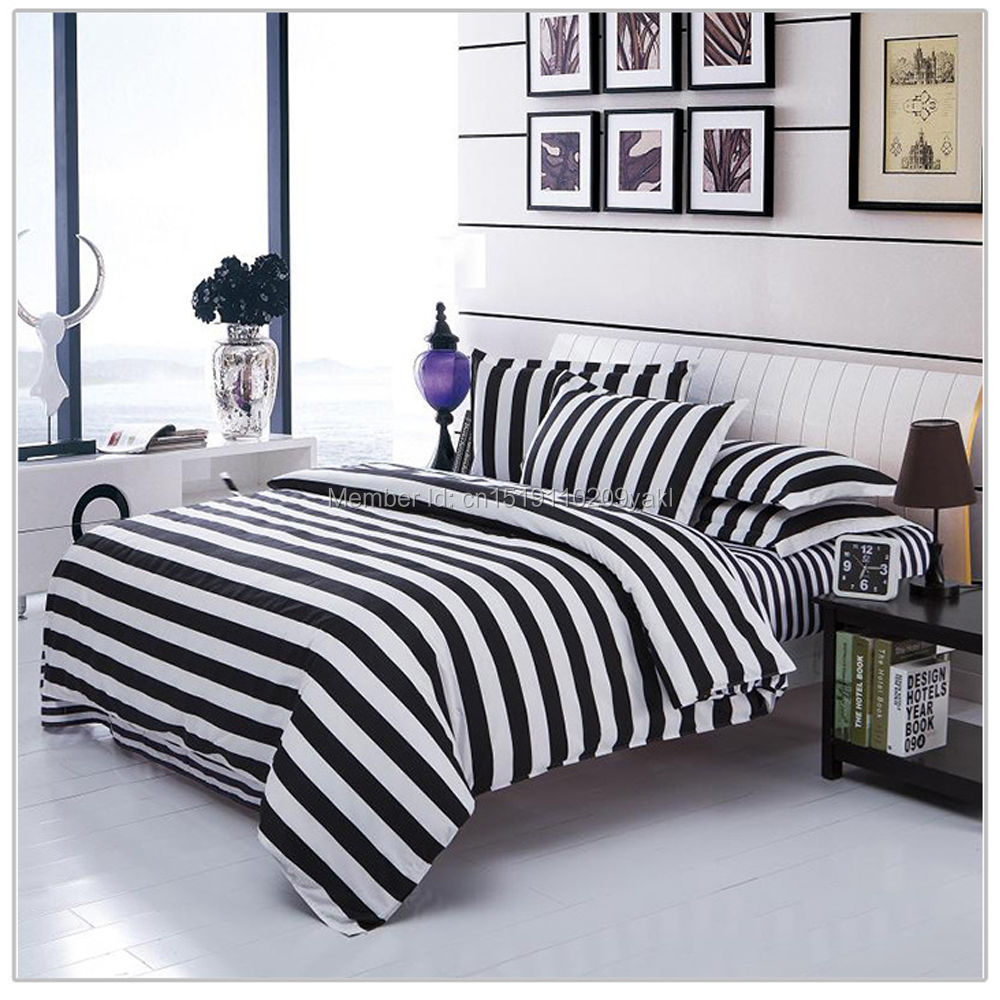 Black and white striped bed sheets - 4pcs Single Twin Double Full Queen King Size Bed Quilt