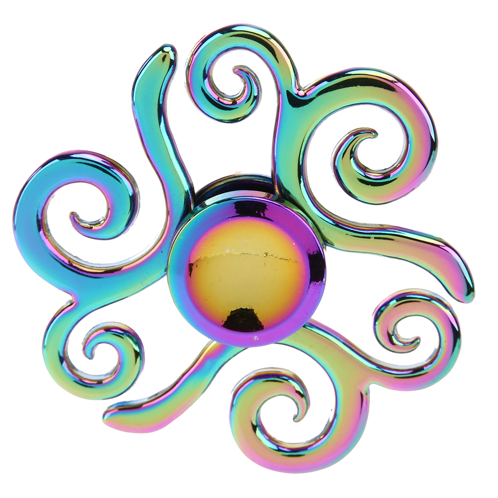 Rainbow Metal Puzzle Fidget Hand Spinner Zinc Alloy EDC Tri Fidget Gyro Finger Toy for ADHD Autism Anxiety Stress Relief luminous tri fidget hand spinner light in dark edc tri spinner finger toys relieve anxiety autism adhd for child