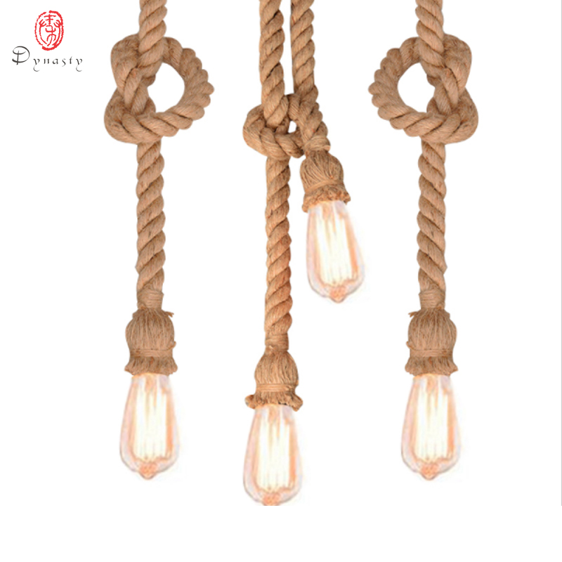Dynasty Retro Novelty Rope Hanging Lamp Hand Made Knitted Straw Rope Lights Pendant Light Coffee Shop Restaurant Lounge Hotel