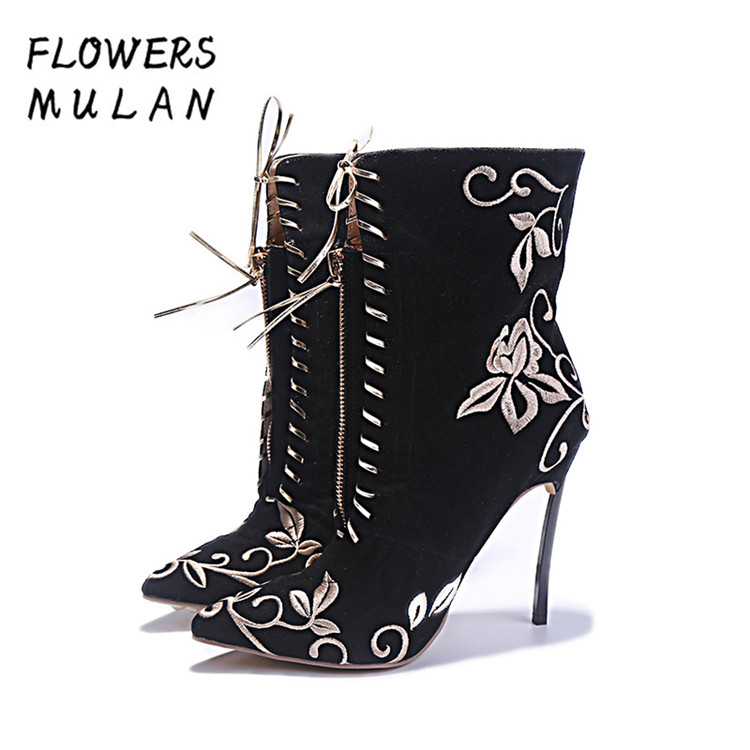 Famous Name Brand Designers Ankle Boots For Women Pointed Toe High Thin Heels Botas de Mujer Embroider Flower Front Zip Shoes