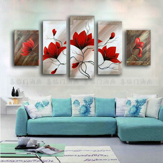 Atfart Living Room Hall Wall Art Handmade Landscape Oil: Sofa Paintings Flower Paintings In Interior Design Art By