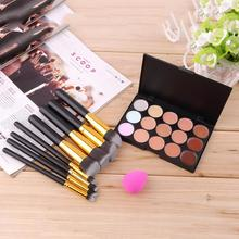15 Color Concealer Palette + 8pcs Make Up Brushes Kit +  Sponge Puff  Makeup Set Kits Contour Palette Paleta De Corretivo Facial
