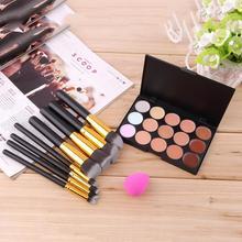 15 Color Concealer Palette + 8pcs Make Up Brushes Kit +  Sponge Puff  Makeup Set Kits Contour Palette Paleta De Corretivo Facial