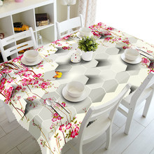 Custom Flower Wall 3D Tablecloth Pattern Dust-proof Thick Cotton Wedding Party Long Table Cloth Home Textile Finished Products(China)