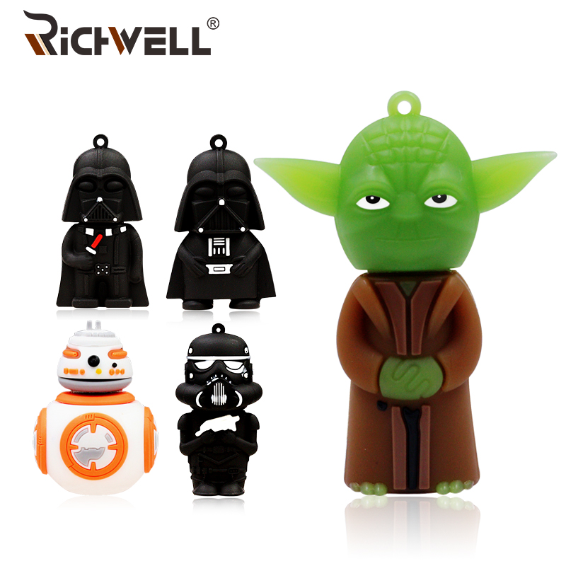 купить Cartoon USB Flash Drive 8GB Star Wars Pen Drive 32GB Darth Vinda Pendrive 16GB USB 2.0 Memory Stick 64GB U Disk 4GB Gift Boy онлайн