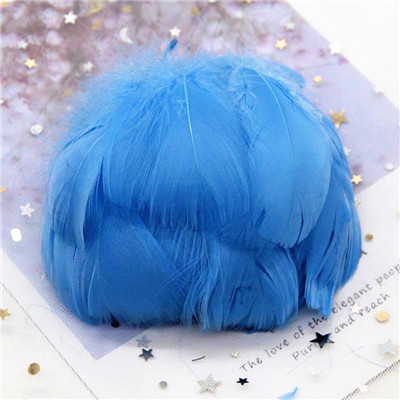 Натуральные гусиные перья 4-8 см, маленькие плавающие цветные перья лебедя, Плюм для рукоделия, свадебные украшения, украшения для дома, 100 шт - Цвет: middle blue100pcs