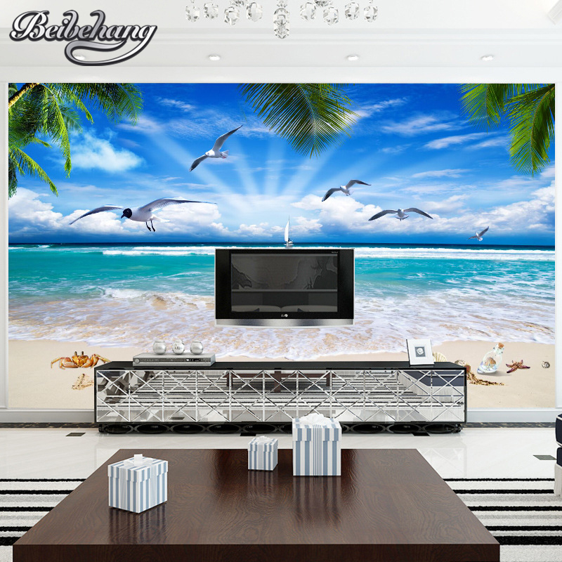 Beibehang Custom photo wallpaper 3D beach sea view wallpaper living room bedroom wallpaper for walls 3 d papel de parede beibehang custom marble pattern parquet papel de parede 3d photo mural wallpaper for walls 3 d living room bathroom wall paper