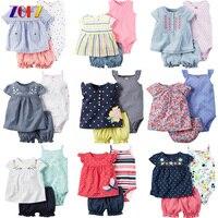 ZOFZ 3 unids Conjuntos de Ropa para bebés de Verano Caliente Colorida Casual lindo Conjunto Traje Corto Ropa Del Mameluco Del Bebé Niñas y Los Niños ropa