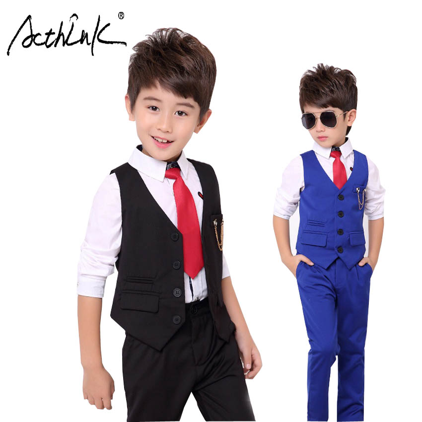 ActhInK New Boys Autumn Boys Children Solid Wedding Party Suit with Bow Tie Kids Formal England-Style 3pcs Set Clothing,TC122 acthink new boys summer formal 3pcs shirt shorts waistcoat suit children england style wedding suit with bowtie for boys zc033