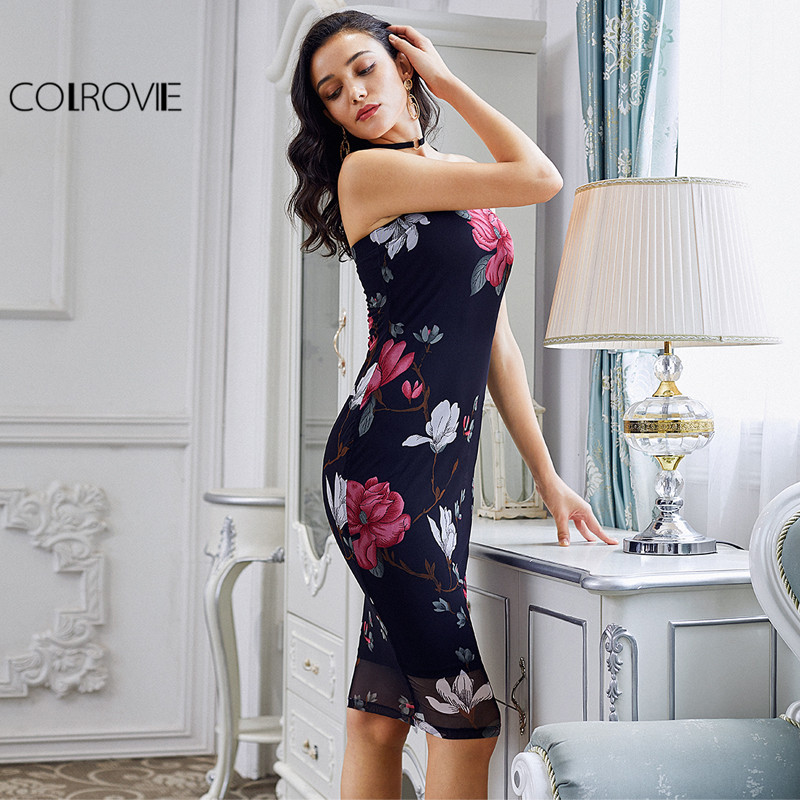 COLROVIE Floral Bodycon Bandeau Dress 2017 Sexy Strapless Women Elegant Summer Party Dresses Fashion New Midi Night Club Dress