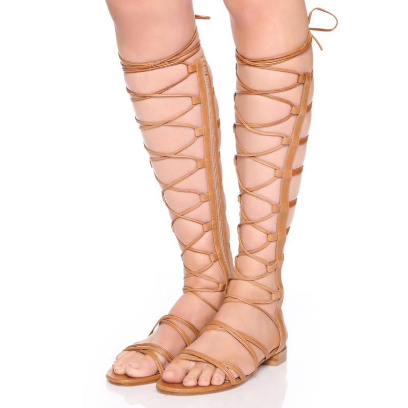 ФОТО Open The Toe Genuine Leather Flat Heels Knee High Gladiator Sandal Boots Cut Out Women Sexy Summer Long Boots Plus Size 41 42 43