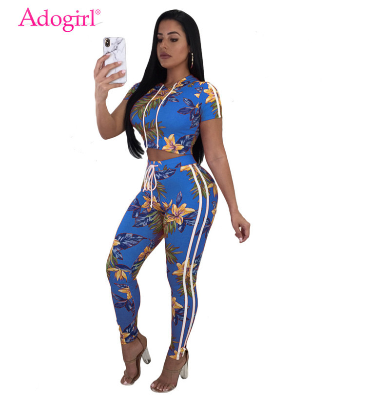 Adogirl Floral Print Casual Summer Two Piece Set Short Sleeve Hooded Women's T-shirt Crop Top + Pants Tracksuit Fashion Outfits