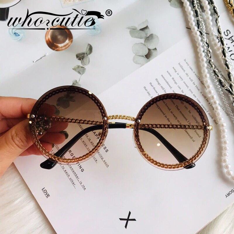 Moda Rodada do vintage Óculos De Sol Das Mulheres 2019 de Design Da Marca de Luxo Retro Armação Sem Aro Óculos de Sol Lady Feminino Shades NENHUMA Cadeia S018