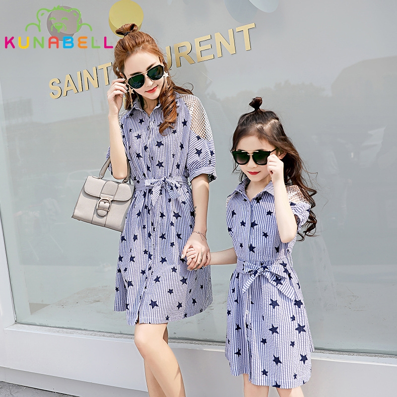Mom Daughter Dress Shirts Family Fashion Mother Kids Summer Matching Clothes Pentagram Pattern Short Sleeve Dresses Outfits F27