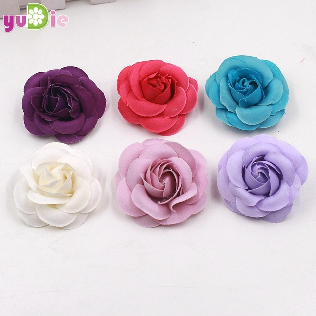 10pcslot 5cm Hand Craft Flowers Supplies Silk Rose Heads Diy