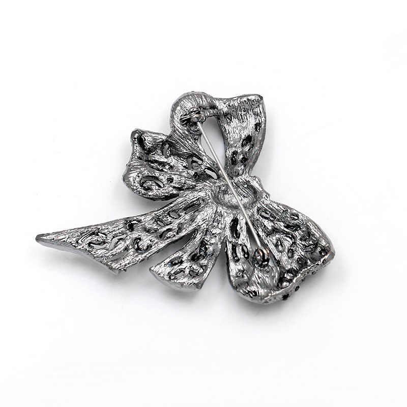 Persewaan Mobil High-Grade Elegan Kupu-kupu Berlian Imitasi Hitam Bow Bros Pernikahan Logam Pin Lencana Bros untuk Wanita Fashion Perhiasan o36
