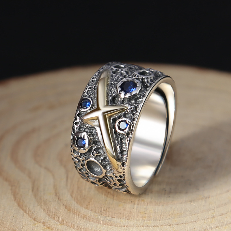S925 Sterling Silver Starry Blue Ring Fashion Men Personality Thai Silver Vintage Adjustable Size s925 sterling silver vintage six buddhist mantra rotating personality ring ring and old thai silver jewelry