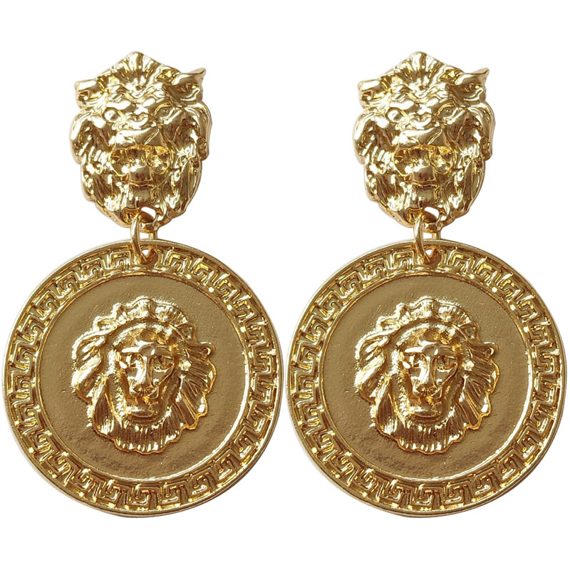 Earrings Totem-Clip Non-Pierced Lion No-Ears-Hole Cool-Alloy Gold-Color Punk Lion-Statement