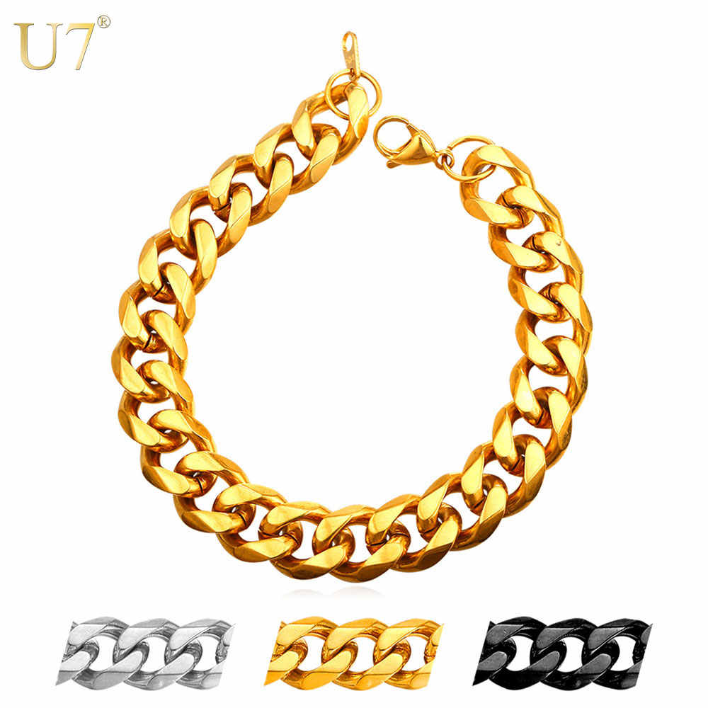 U7 Brand Men Bracelet Hand Link Chain 3MM/6MM/9MM/12MM Width Thin/Chunky Big Gold Color Black Stainless Steel Jewelry H1002