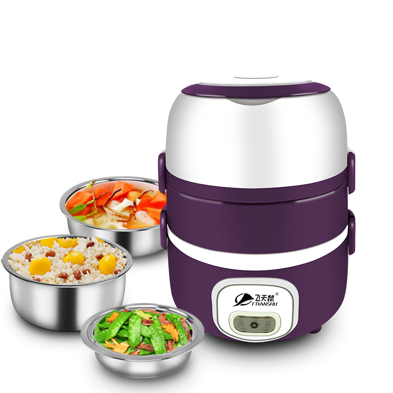 Electric Lunchbox Three Layers Hot Rice Cooker Stainless Steel Insulation Plug In Heating Fresh A Key To Cooking 2L 1-2 People 220v 600w 1 2l portable multi cooker mini electric hot pot stainless steel inner electric cooker with steam lattice for students