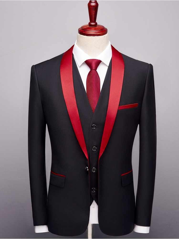 デザイナー 2019 黒赤タキシード男性のスーツフォーマルな新郎のウェディングウェディングブレザーメンズ 3 ピース韓国ビジネススーツスリムフィット