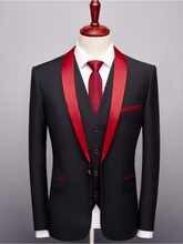Designers 2019 Black Red Tuxedo Men's Suits Formal Grooms Wedding Prom Blazer Mens 3 Piece Korean Business Suit Slim Fit