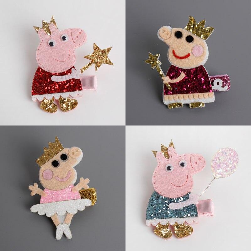 2017 New Lovely Cartoon Shinny Girls Hairpins PP Pig Design Safe kids Hair Clips Princess Barrette Girls Hair Accessories