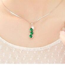 Натуральный зеленый подвески из халцедона 925 Серебряное ожерелье агат нефрит Перидот Bizuteria для женщин Bijoux или драгоценный камень подвески ювелирные изделия