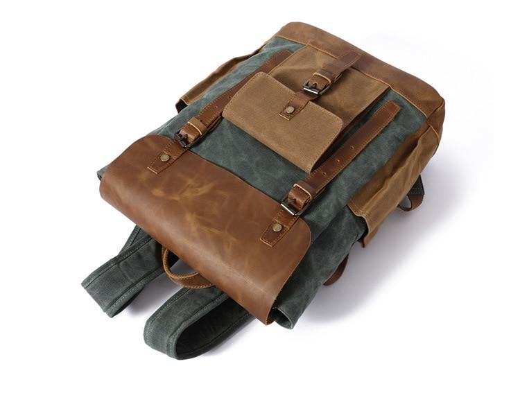 Retro Contrast Oil Wax Waterproof Canvas Bag Travel Backpack Computer Schoolbag Large Capacity Women Backpack 22