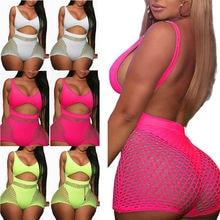Women 2 pieces Set Fishnet Sheer Mesh Playsuit Bodysuit Romper Set