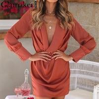 Glamaker Rust red silk satin sexy dress Women sash cowl neck long sleeve spring party dress summer mini short elegant dress 2018